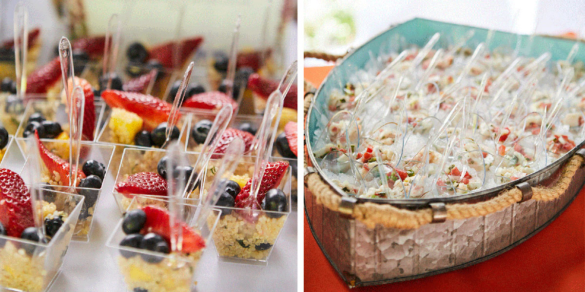 Food in cups, food to go, healthy food, food in tray