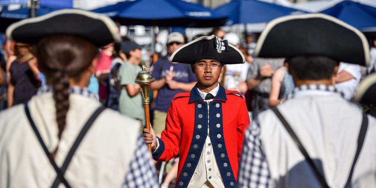 Boston Harborfest, Boy in Colonial Uniform, Marching Band Boston