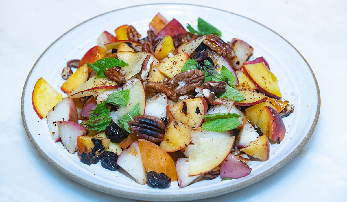 Stone Fruit Salad, Fruit Salad, Fruit Salad on Plate