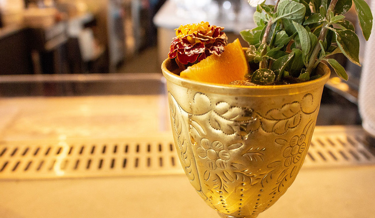 Cocktail in Goblet, Goblet with Fruit, queensyard Hudson Yards