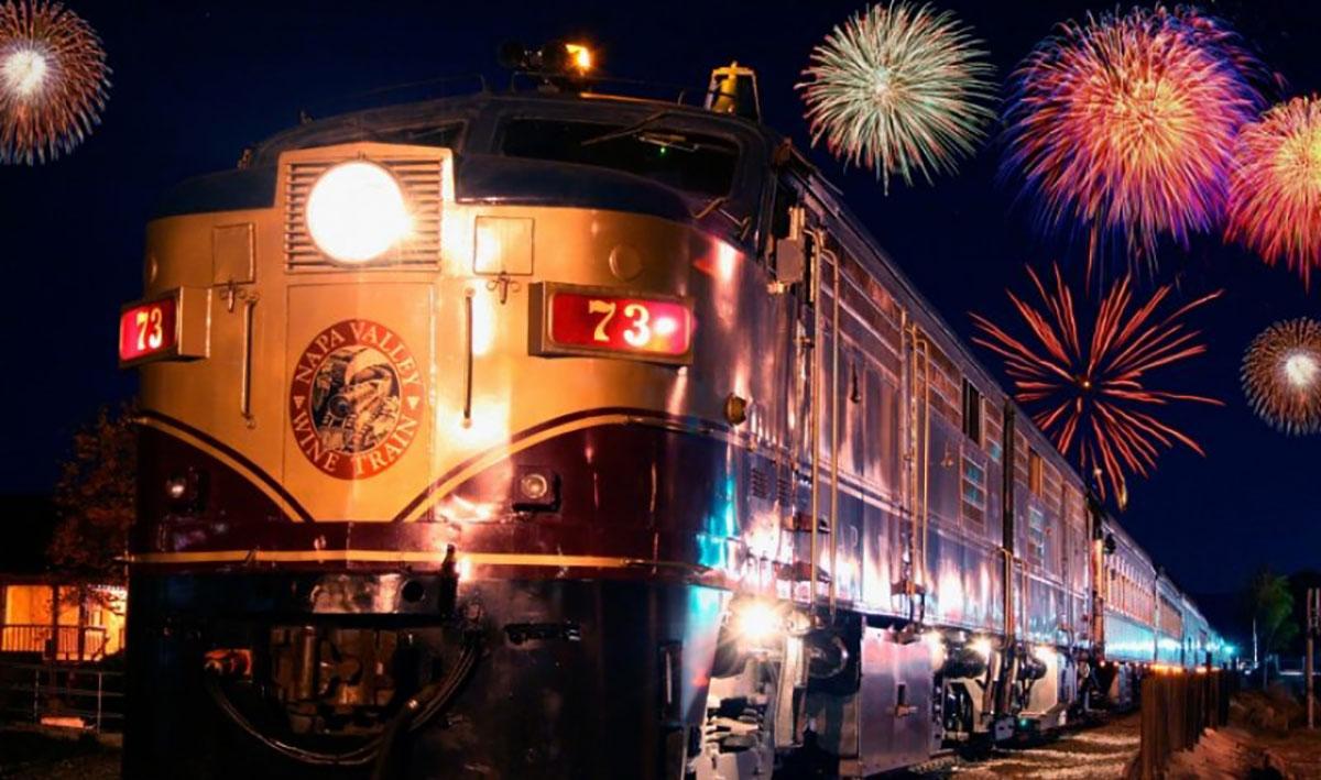 The Napa Valley Wine Train, Napa Wine Train Fireworks, Fireworks over a train