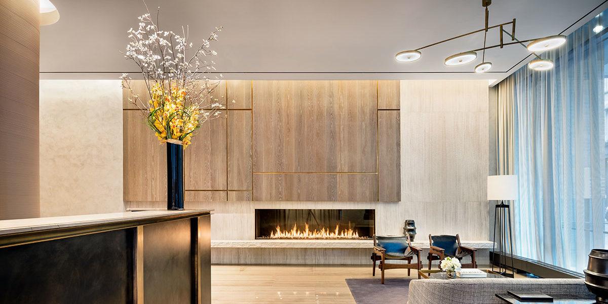 456 Washington Street, Lobby at 456 Washington, Lobby with fireplace and chairs, Sleek Lobby