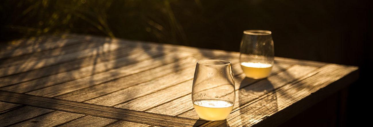Glasses of wine, glasses of wine on table, glasses of wine outside