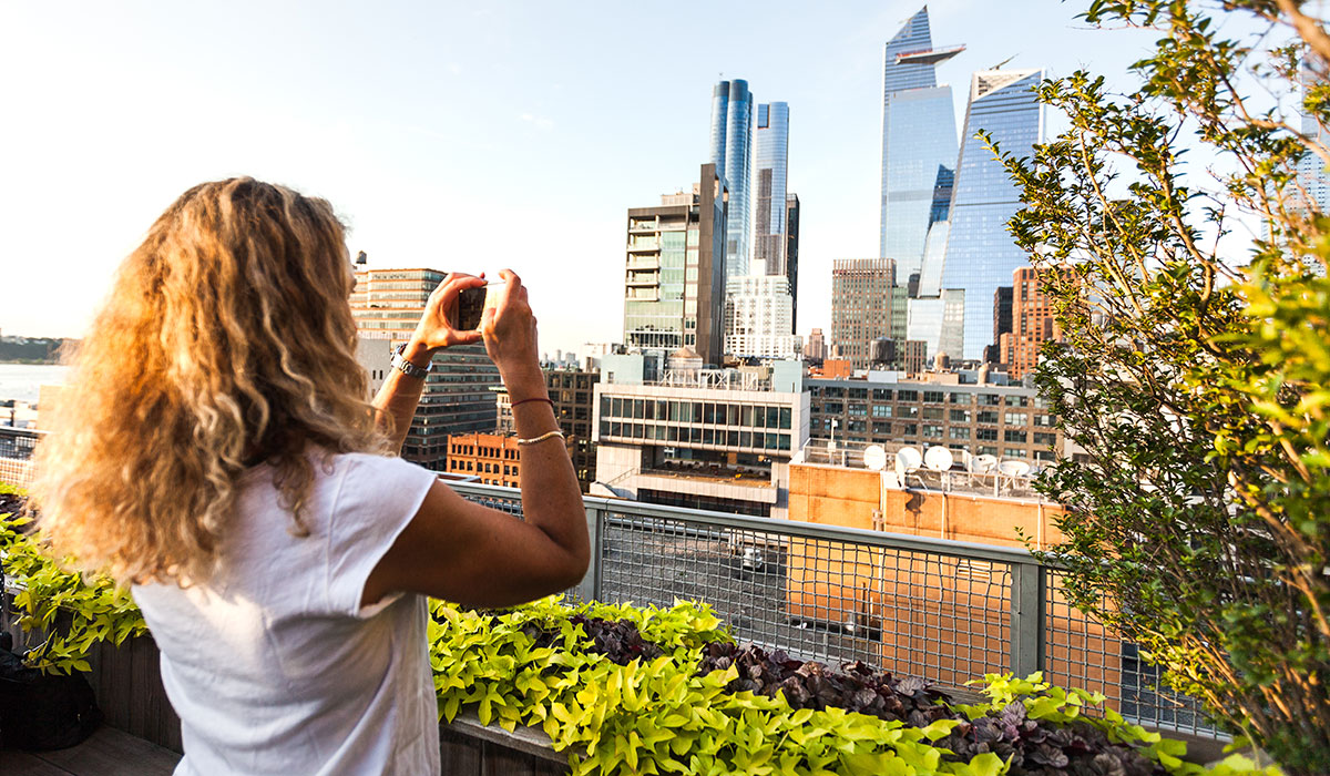 Hudson Yards, Hudson Yards New York, Taking a photo of hudson yards, woman taking iphone photo, rooftop, NYC rooftop, the tate