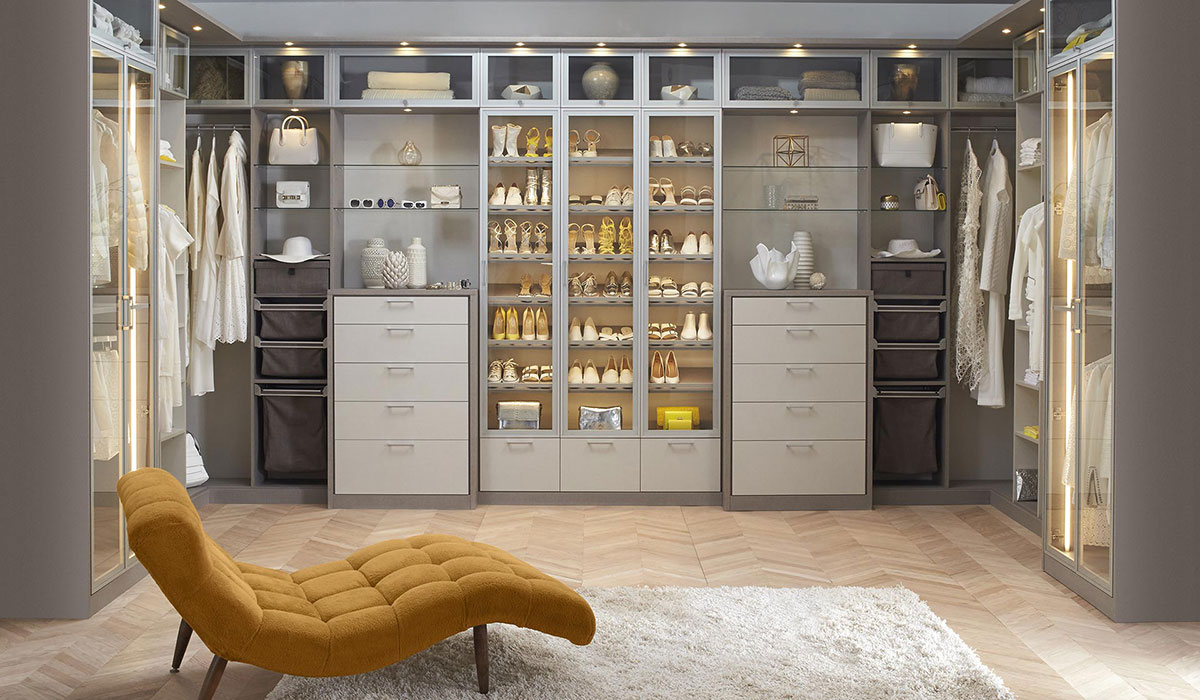 California Closets, california closets grey closets, closets with drawers, neatly arranged closets