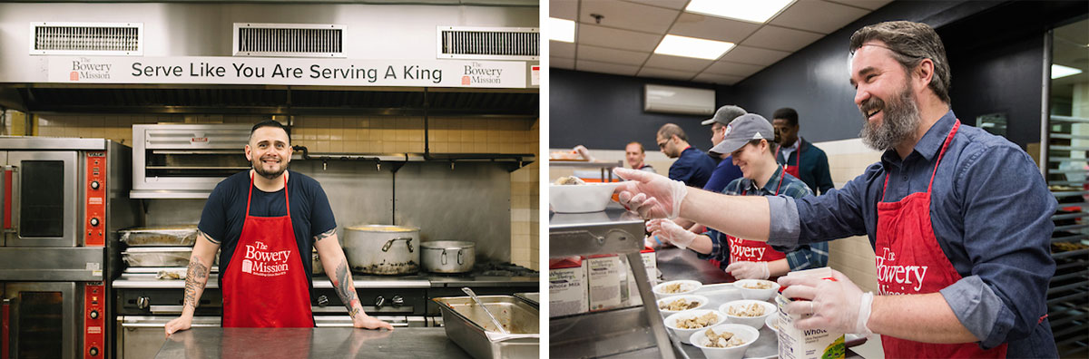 Bowery mission, bowery mission serving food, serving food to homeless