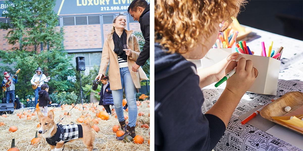 fall harvest festival, people in pumpkin patch