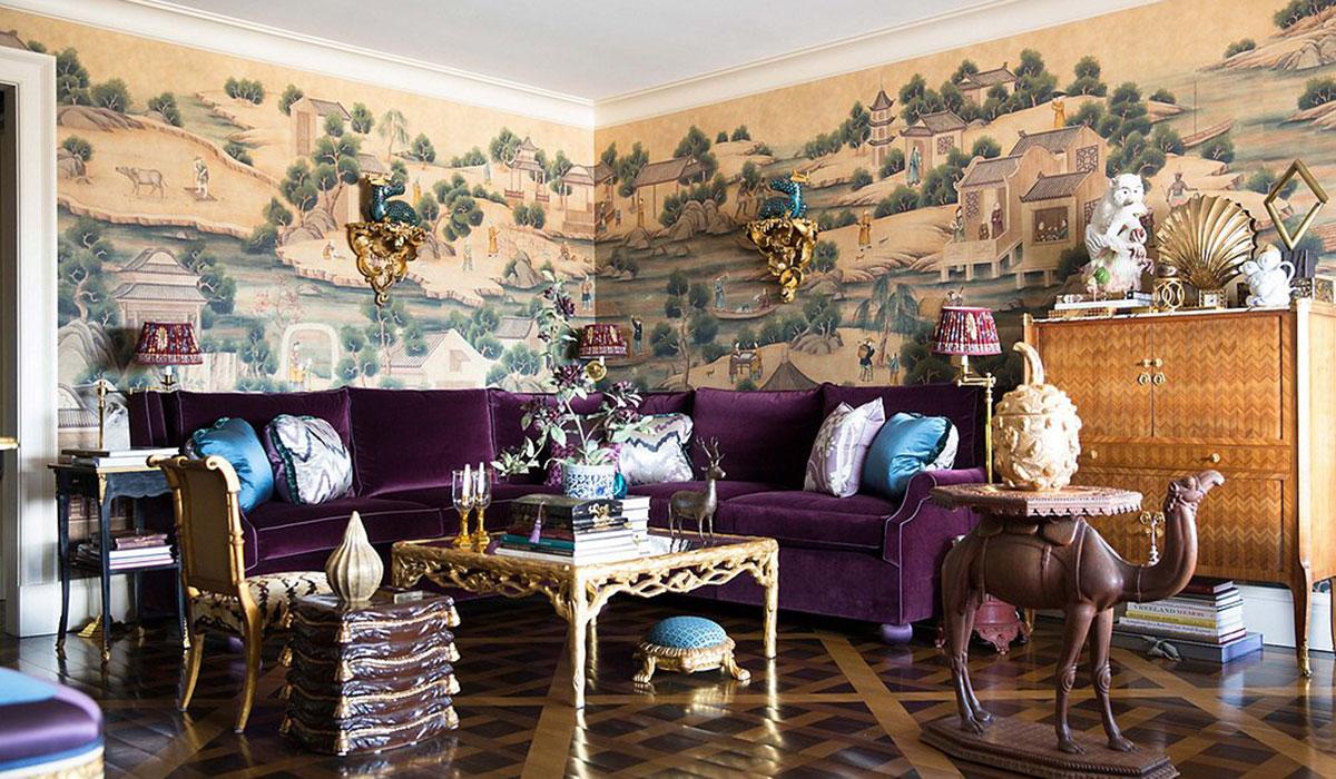 one kings lane, one kings lane design, one kings lane room, velvet couch, purple velvet couch