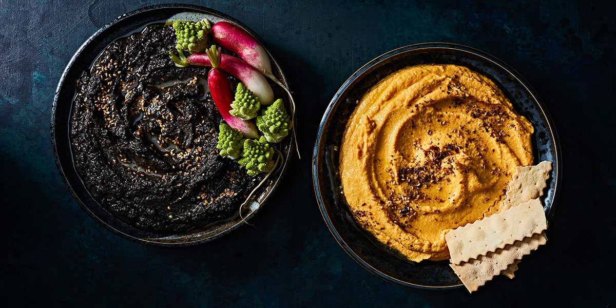 fall recipes, black and orange hummus, seasonal hummus, halloween hummus