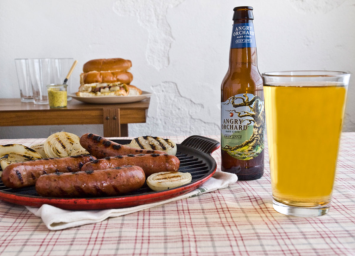 angry orchard, angry orchard cider, bratwurst