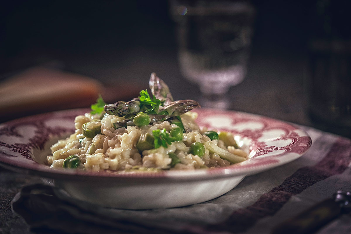 spring vegetables risotto, risotto