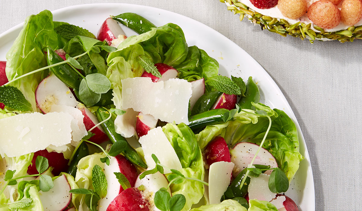 radish parmesan dip, radish parmesan salad