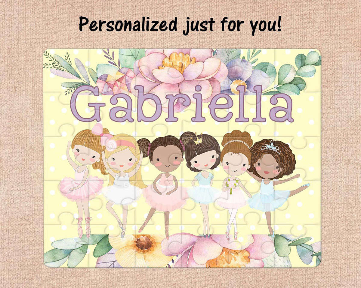 personalized puzzle, kids puzzle, ballerina puzzle