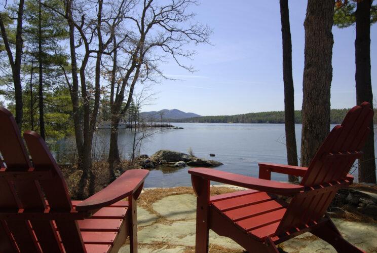 Adirondack chairs and lake